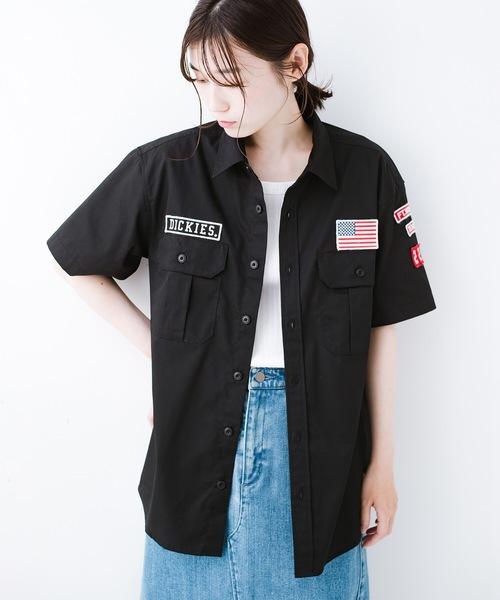 [haco!] Dickies TCツイルワッペン付きルーズフィット半袖ワークシャツ
