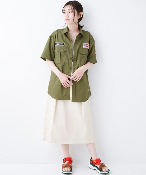 [haco!] Dickies TCツイルワッペン付きルーズフィット半袖ワークシャツ2