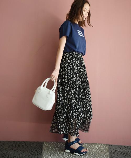 [PICCIN] レオパードランダムプリーツスカート