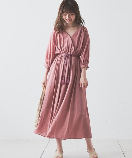 [natural couture] 【WEB限定カラー有り】タッセルベルト付きカシュクールワンピース