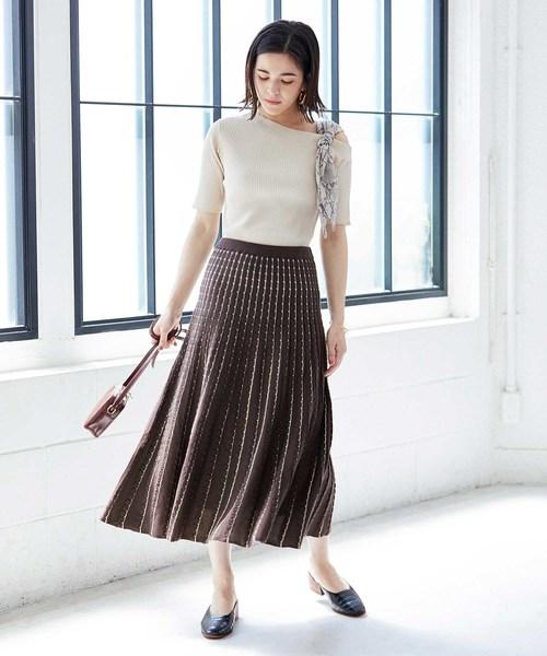 [ADAM ET ROPE'] ケーブル編みニットスカート