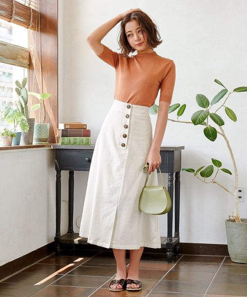 [kobelettuce] コットンリネンフロントボタンAラインスカート