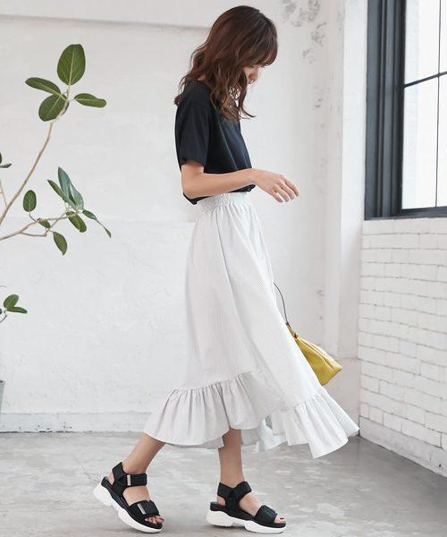 [kobelettuce] 裾切替えロング丈ティアードフレアスカート