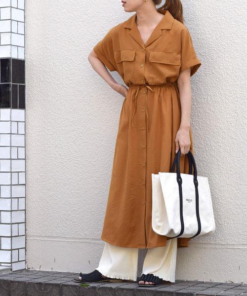 [w closet] 開襟胸ポケットシャツワンピース