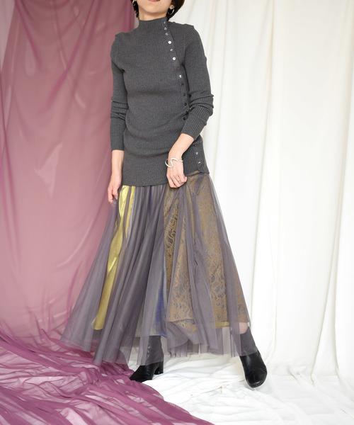 [Eimee Law & WASH] 【Eimee Law】異素材切替フレアスカート