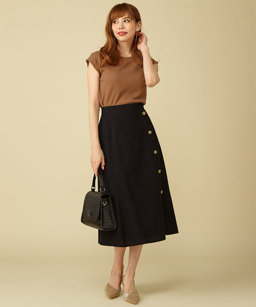 [Roomy's] 【WEB限定】リネンタッチボタンスカート