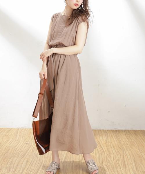 [natural couture] 【WEB限定カラー有り】べっ甲Dかん太ベルト涼しげワンピース