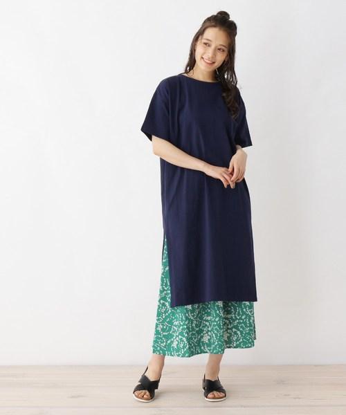 [SHOO・LA・RUE] 【2点セット】綿Tシャツワンピース+スカートセット