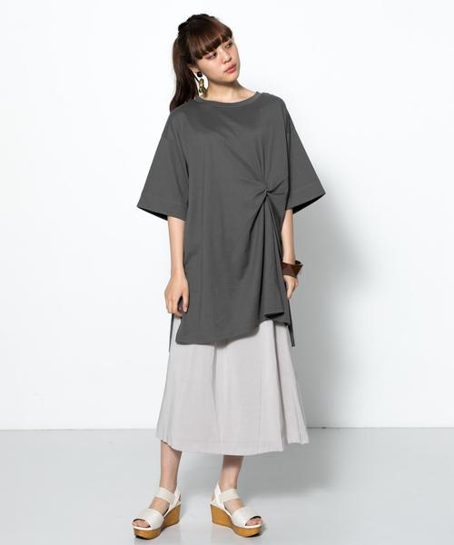 [SENSE OF PLACE by URBAN RESEARCH] ツイストチュニックTシャツ(5分袖)