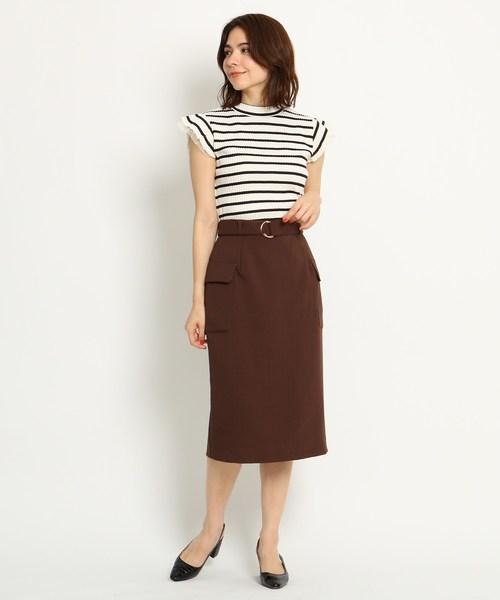 [AG by aquagirl] 【洗える/Lサイズあり】フラップポケット付リネン風タイトスカート