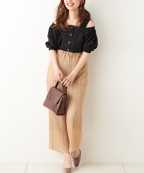 [natural couture] プリーツシフォンワイドパンツ