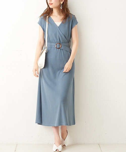 [natural couture] 前後2WAYワッフルカシュクールワンピース