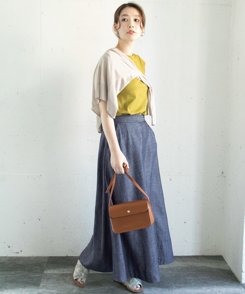[URBAN RESEARCH ROSSO WOMEN] リネンデニムフレアースカート