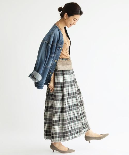 [IENA] Deveaux チェックラップスカート◆