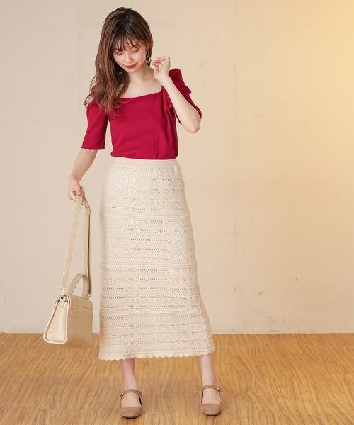 [natural couture] レトロ柄ニットスカート