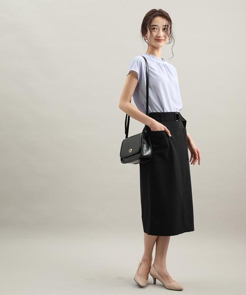 [ViS] ベルト付きフロントスリットタイトスカート