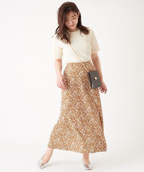 [Discoat] 【WEB限定】単色花柄マーメイドスカート
