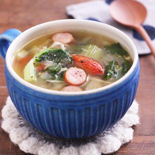 セロリとウインナーのスタミナスープ