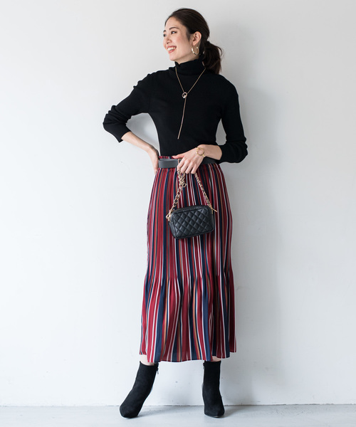 [Loungedress] マルチストライププリーツスカート