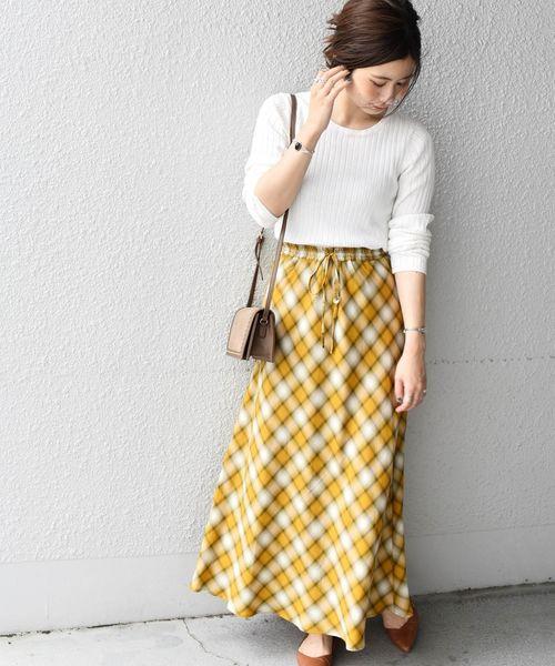 [SHIPS for women] Khaju:チェックセミフレアスカート◇