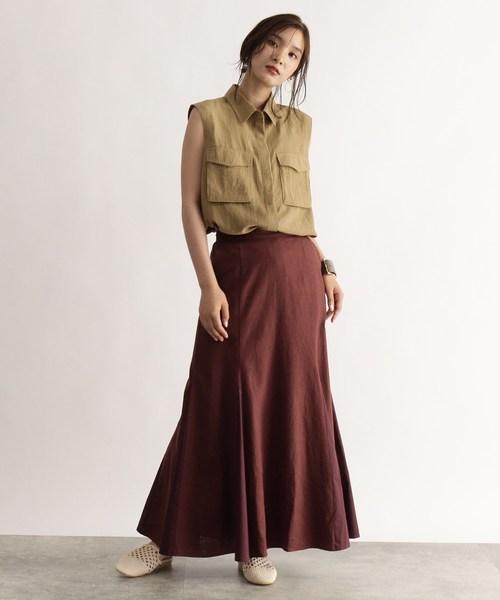 [OZOC] [洗える]リネン切替フレアマキシスカート