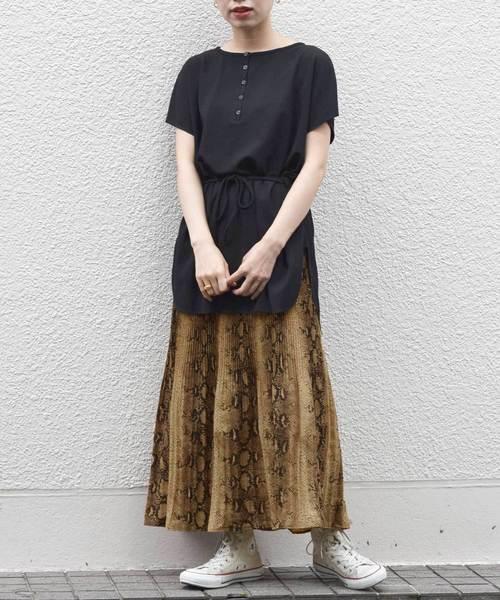 [w closet] パイソン柄消しプリーツスカート