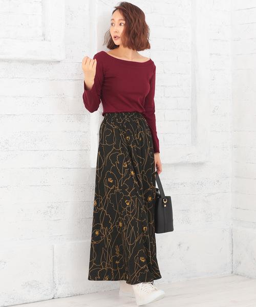 [Nina] 花柄ラインシルエットフレアロングスカート