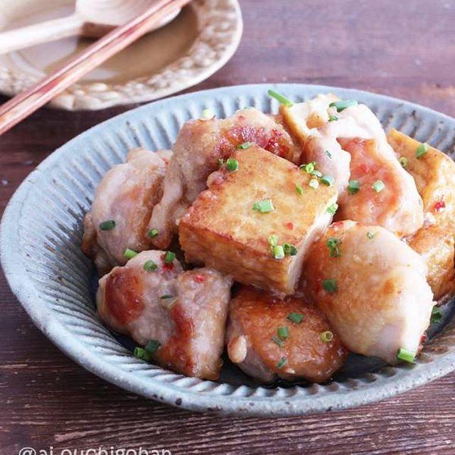 鶏肉と厚揚げのチリマヨ炒め