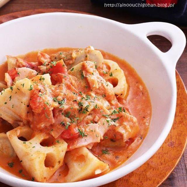 レンコンのトマトチーズ煮スープ
