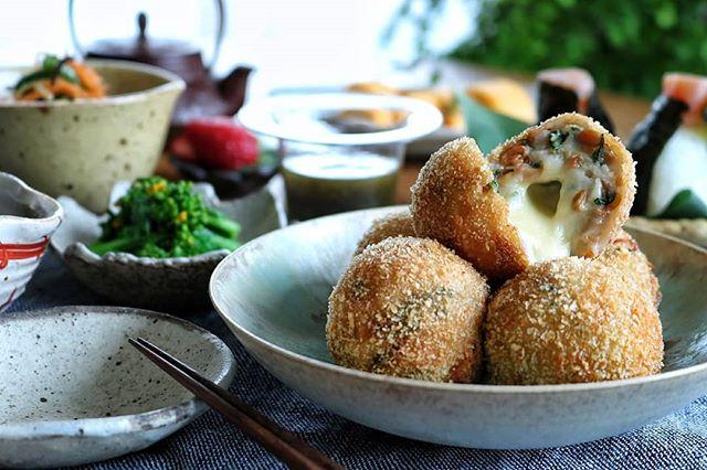 とろ〜りチーズの里芋納豆コロッケ