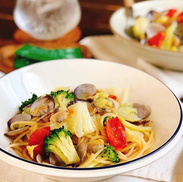 具沢山野菜とアサリのスープパスタ