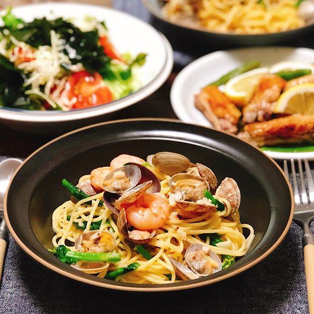 アサリと海老と菜の花のスパゲティ