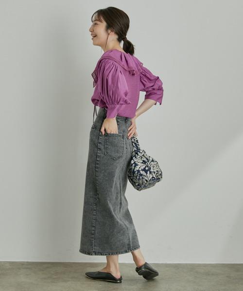 ViS] ストレッチで履き心地の良い、ハイウエストタイトスカート
