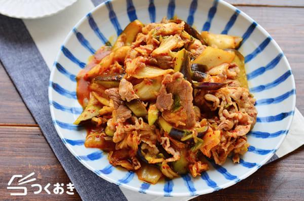 豚肉と秋茄子のキムチ炒め
