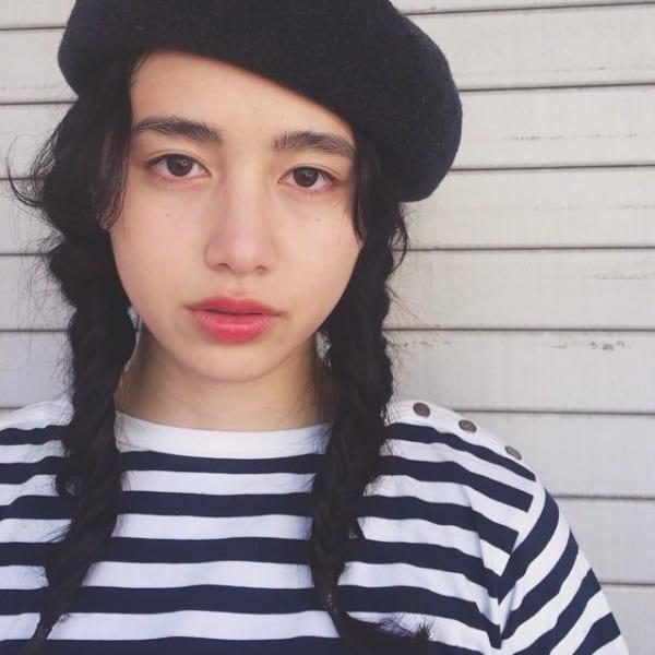 ベレー帽 ミディアム 髪型