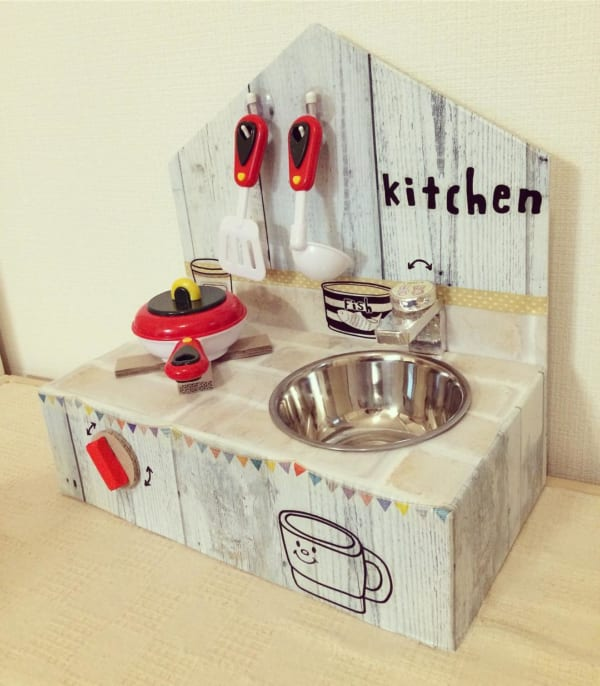DIYのおままごとキッチンもオシャレに変身2