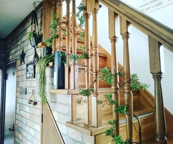 階段を利用して緑を取り入れる