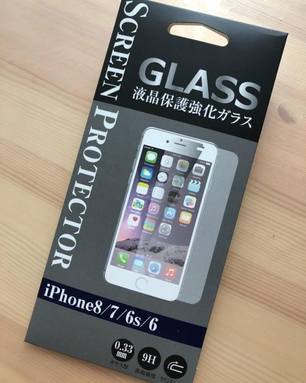 貼りやすく貼り直しもきく液晶保護強化ガラス【セリア】