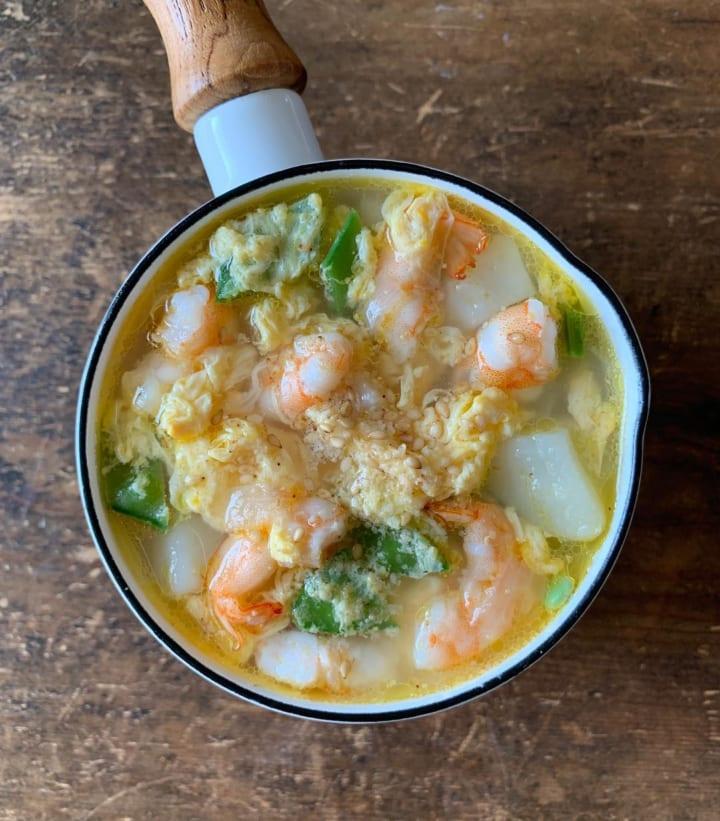 海鮮たっぷりのかきたまスープ