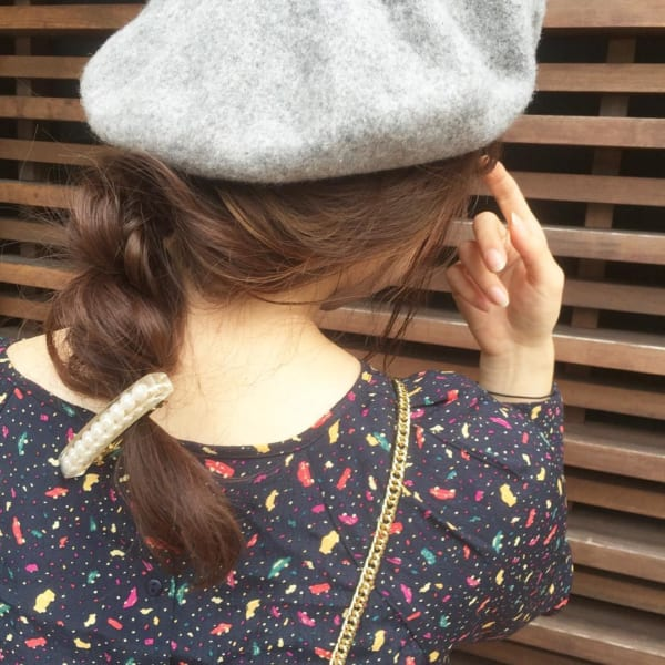 ベレー帽 ロング 髪型