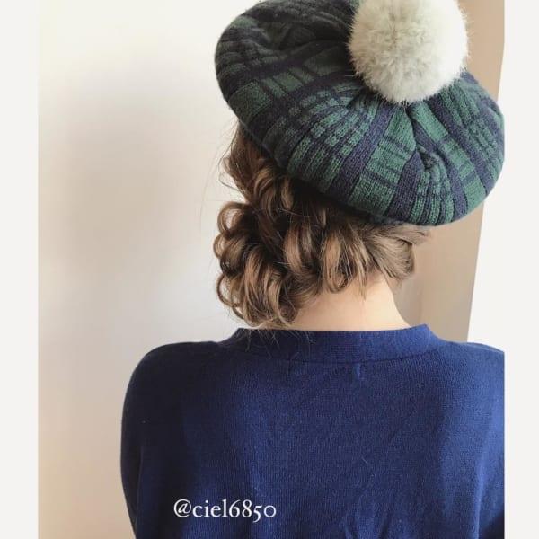 ベレー帽 ロング 髪型2