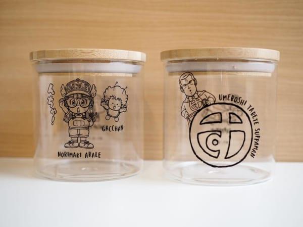 3COINSのアラレちゃんロゴのガラスキャニスター