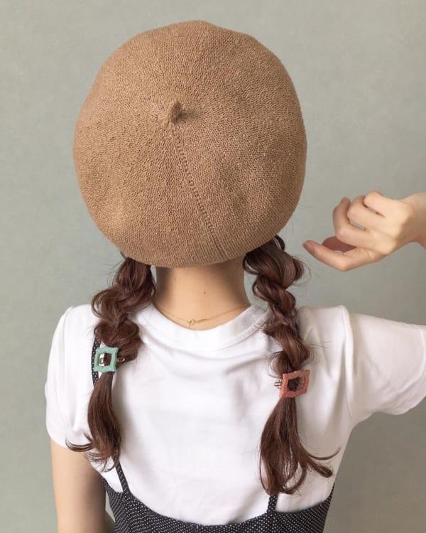ベレー帽 ロング 髪型3