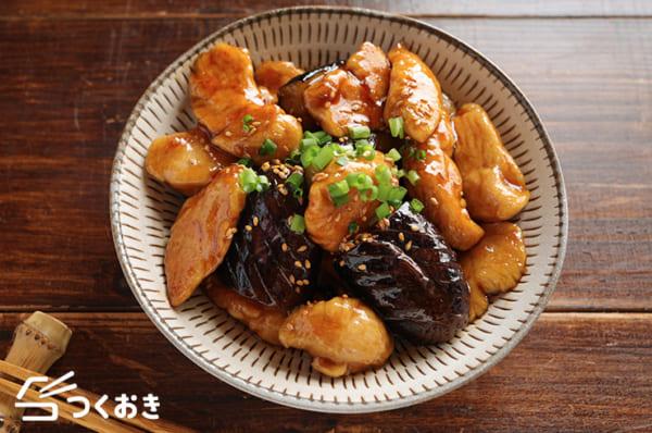 秋茄子とささみの黒酢炒め