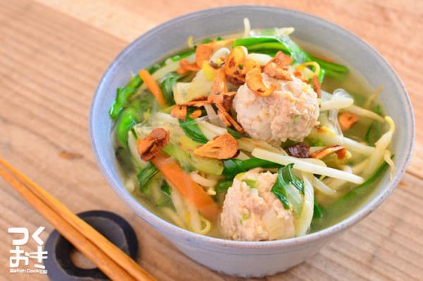エスニック風レシピ!鶏だんご春雨スープ