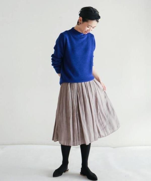 NOMBRE IMPAIR - ポリエステルサテンワッシャー ギャザースカート