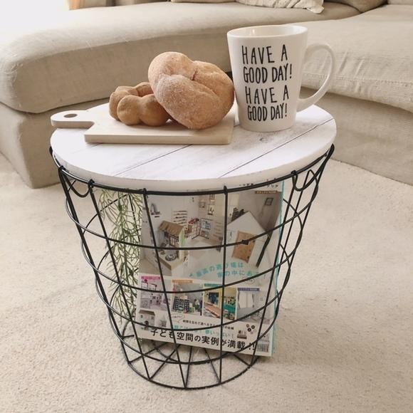 ワイヤーバスケットで作るカフェ風ミニテーブル