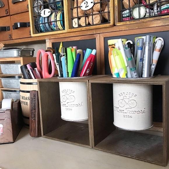 コーヒースタンドを使ったペンスタンドは持ち運び自由♪