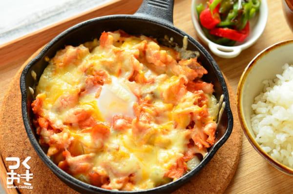 鮭のほぐし身と玉ねぎのチーズ焼き
