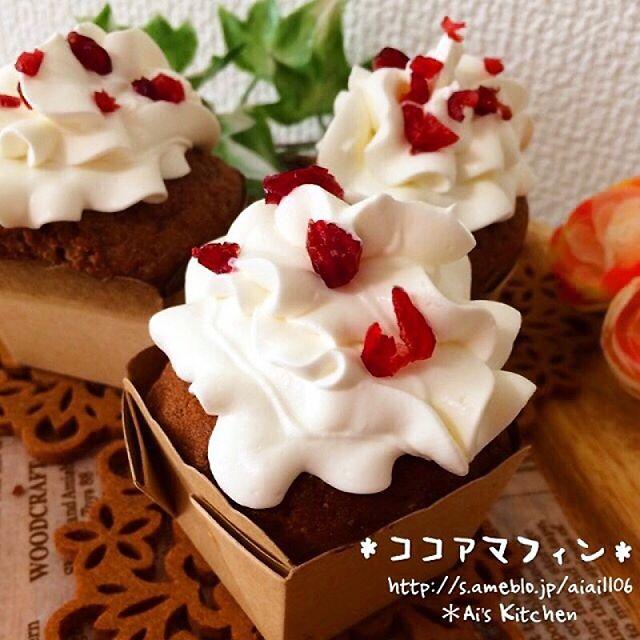 ココアマフィンでデコクリスマスケーキ